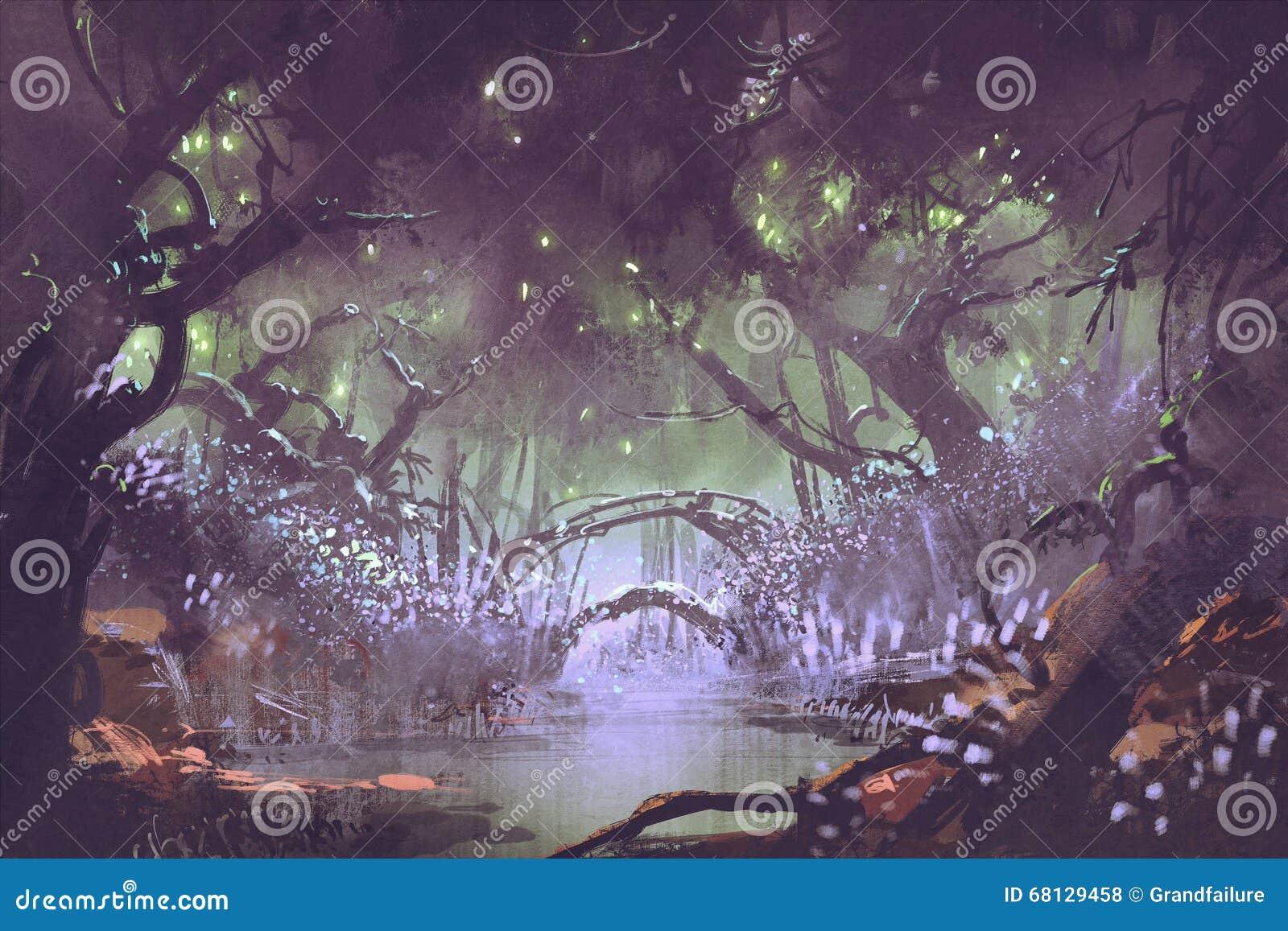 Foresta incantata, paesaggio di fantasia