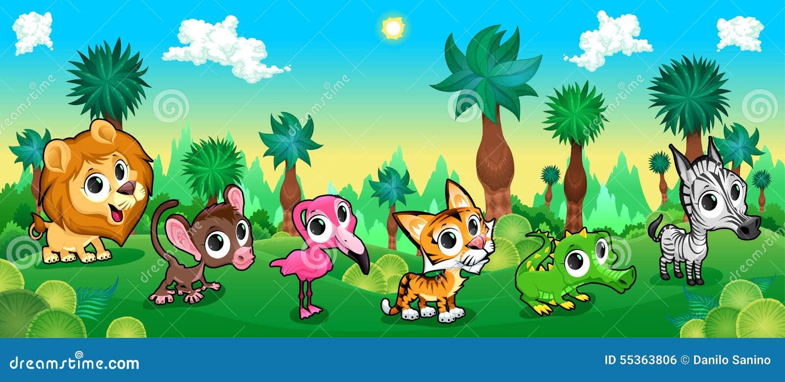 Foresta verde con gli animali selvatici
