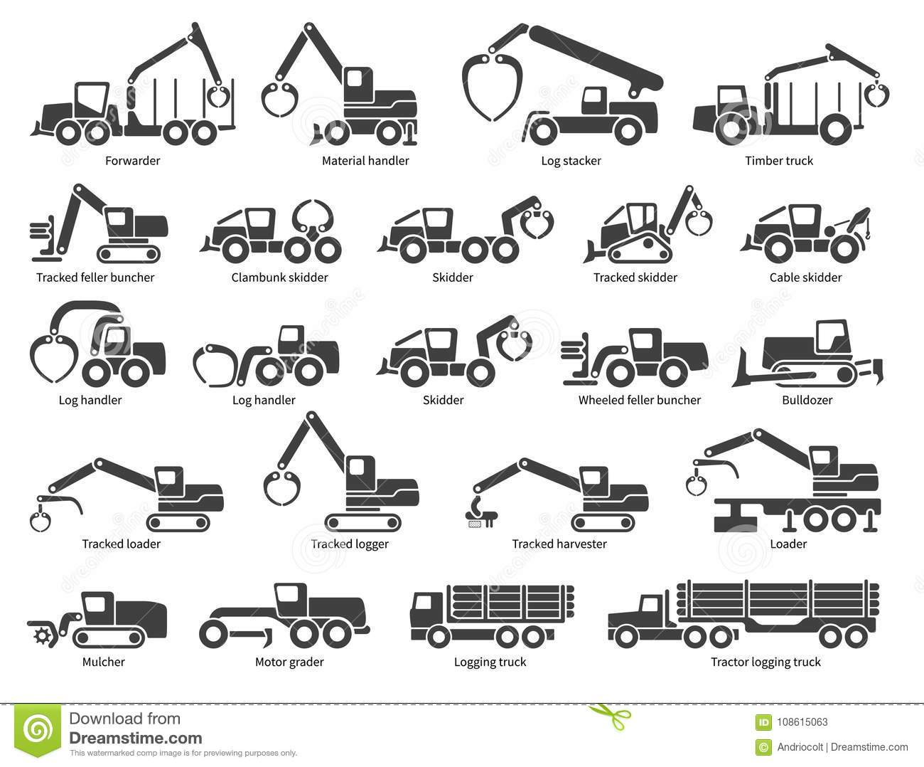 Forestry machinery vector icons set