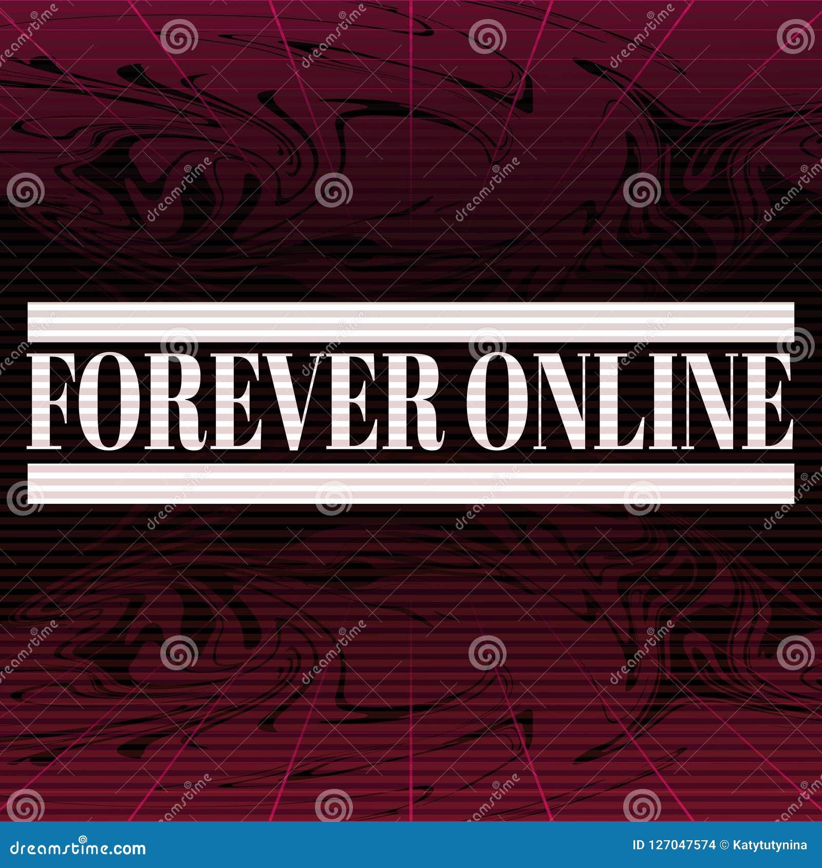 forever online vector poster made in vaporwave style stock vector