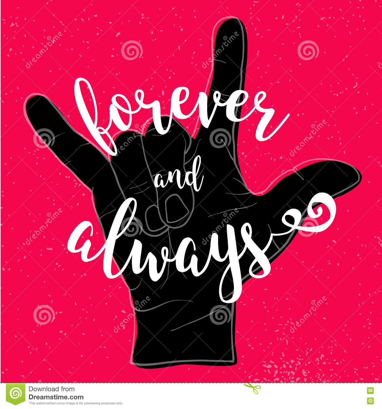 Forever and always quote with devil hand symbol stock vector forever and always quote with devil hand symbol greeting banner buycottarizona