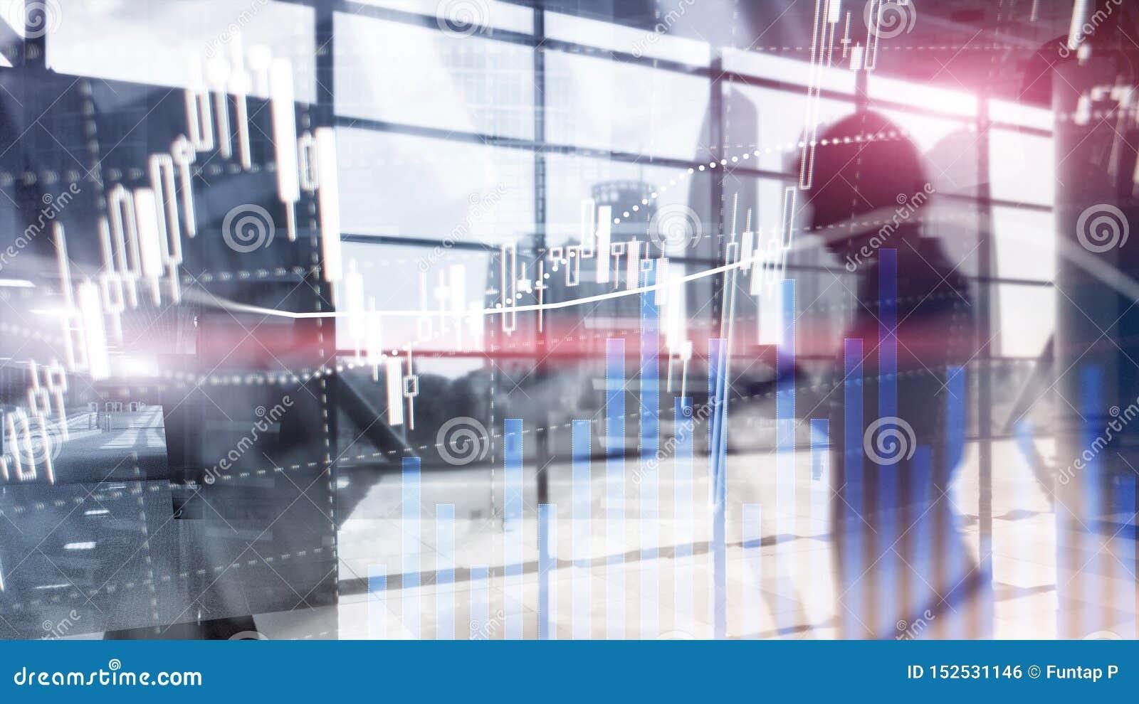 Forex που κάνουν εμπόριο, χρηματοοικονομική αγορά, έννοια επένδυσης στο υπόβαθρο εμπορικών κέντρων
