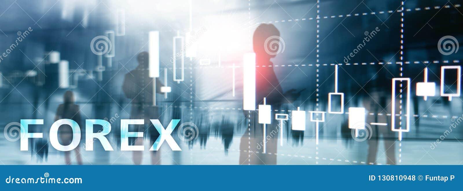 Forex handel drijvend, financiële kaarsgrafiek en grafieken op vage commerciële centrumachtergrond