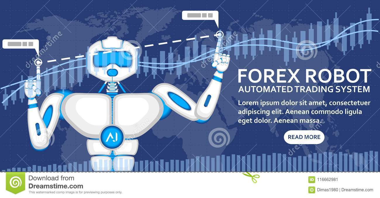 Forex robot concept with AI android