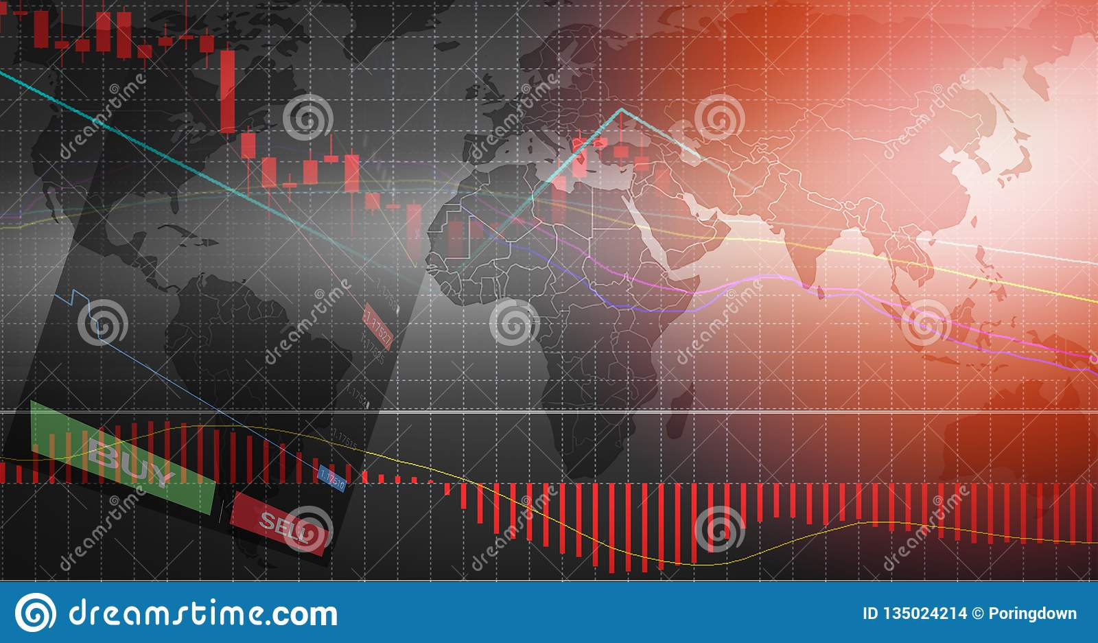 Forex trading / forex charts graph board data on world map background BUY and SELL options