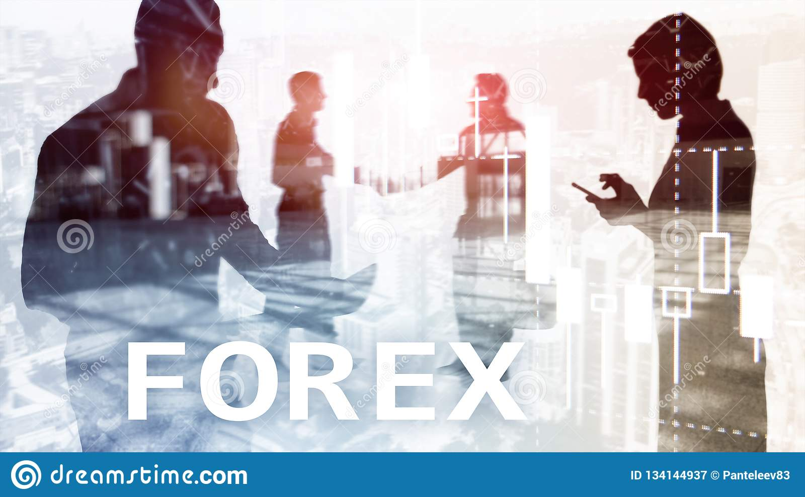 Forex trading, financial candle chart and graphs on blurred business center background. Man and woman, silhouettes.