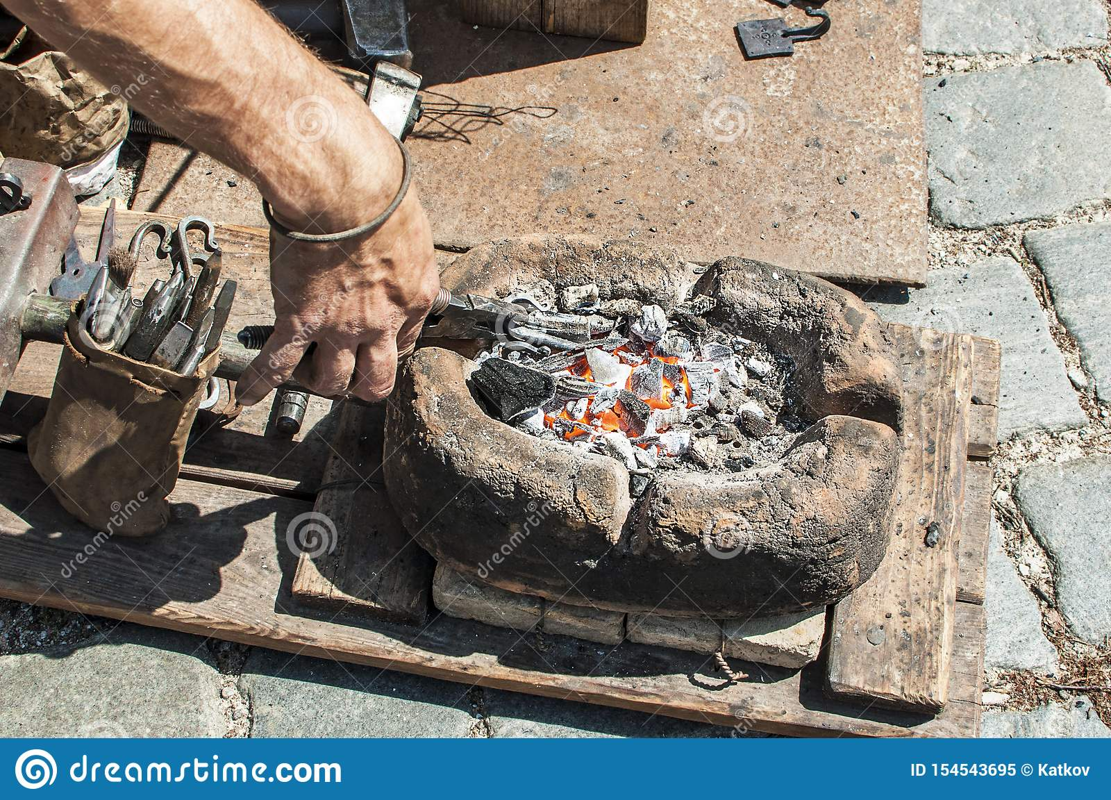 Craftsman Hand Forging Metal Stock Image Image Of Fire