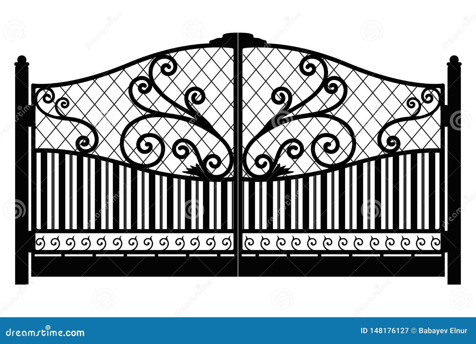 Forged brama architektura za klasycznym szczeg??u poduszek widok Czer? fa?szowa? ?elazn? bram? z dekoracyjn? kratownic? odizolowy