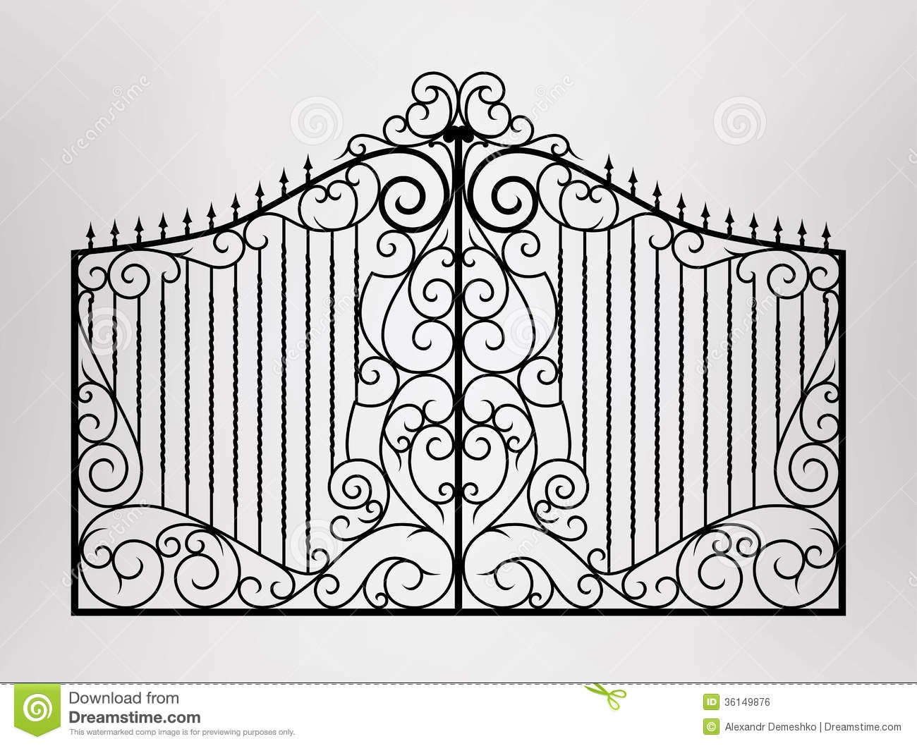 Residential gate design vector : Forged gate stock vector image of background ancient