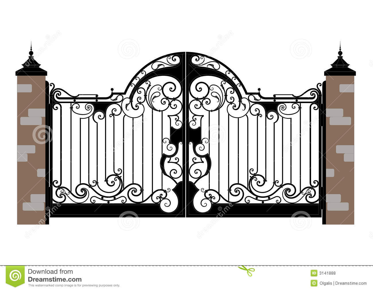 Forged Iron Gate Stock Vector Image Of Construction