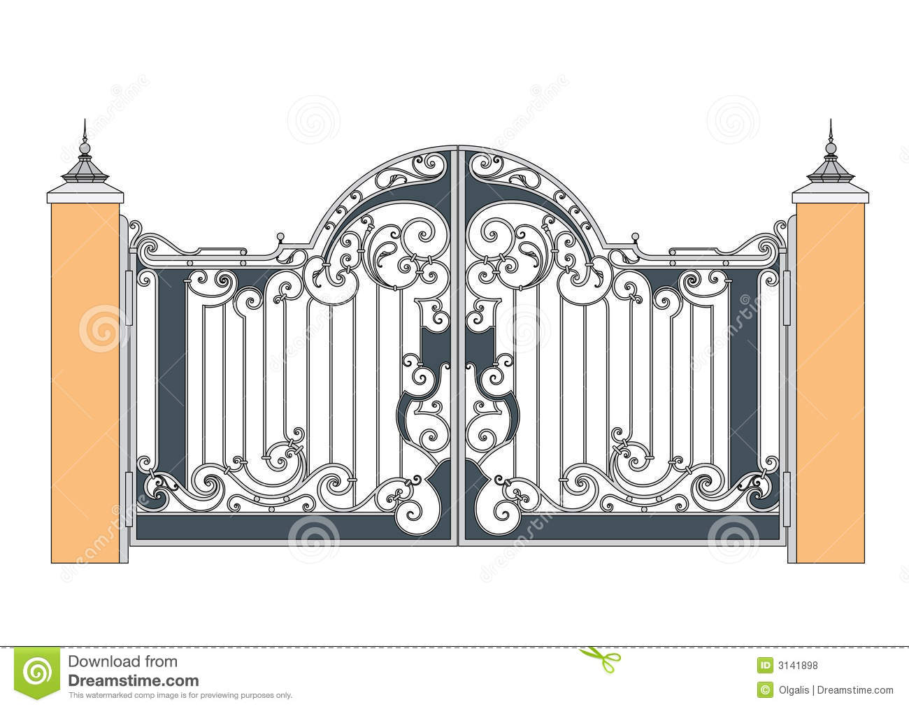 Forged iron gate stock vector illustration of drafting