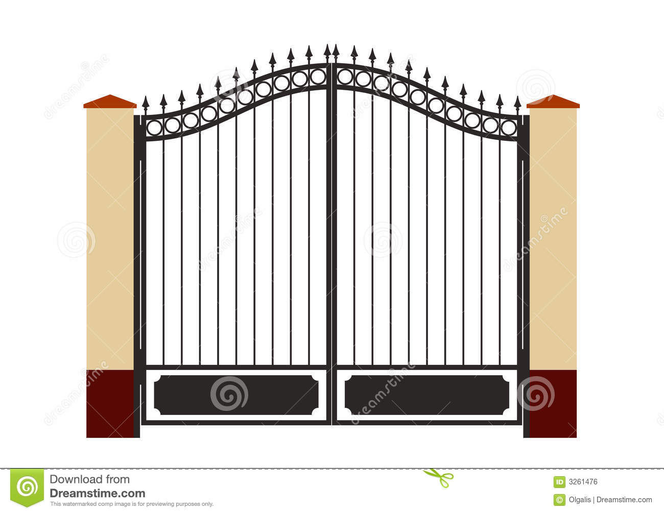 Forged iron gate stock vector image of artistic curl