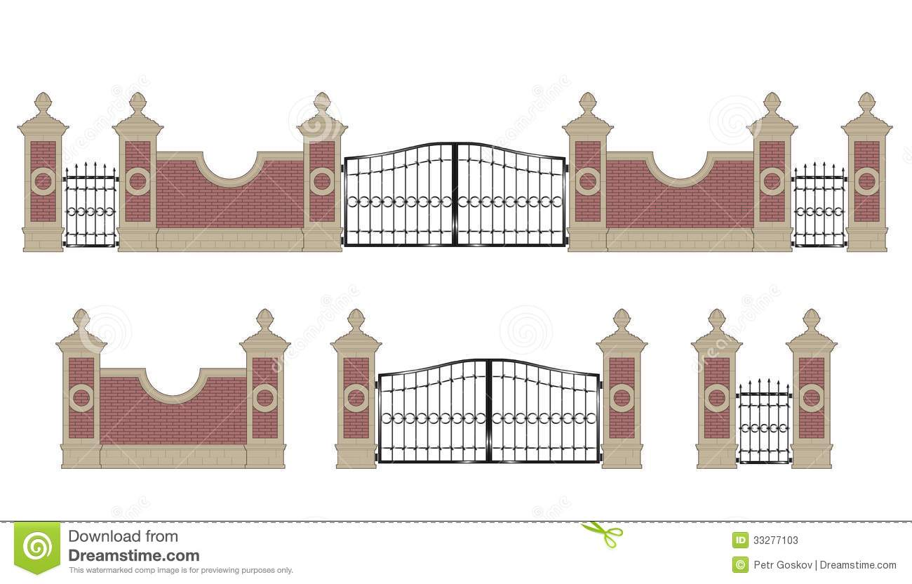 Forged Iron Gate With Pillars Stock Vector Illustration Of Brick