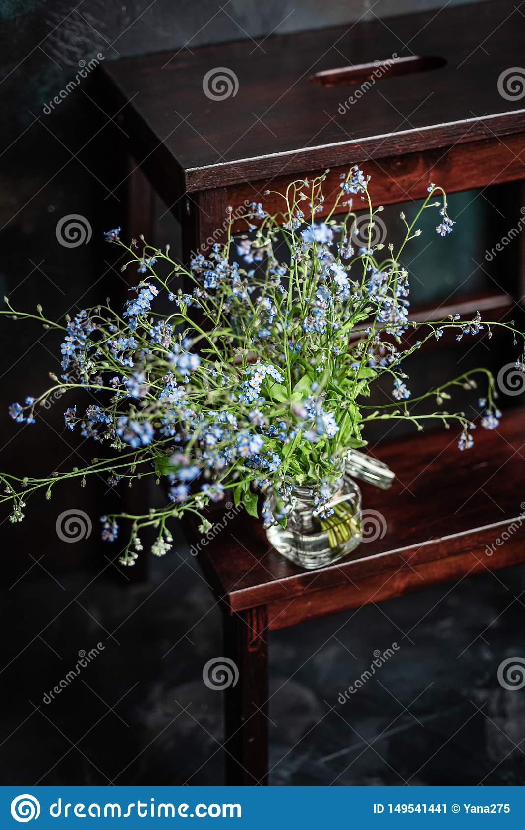 Forget-me-not`s bouquet in small glass jar on wooden stool, dark background