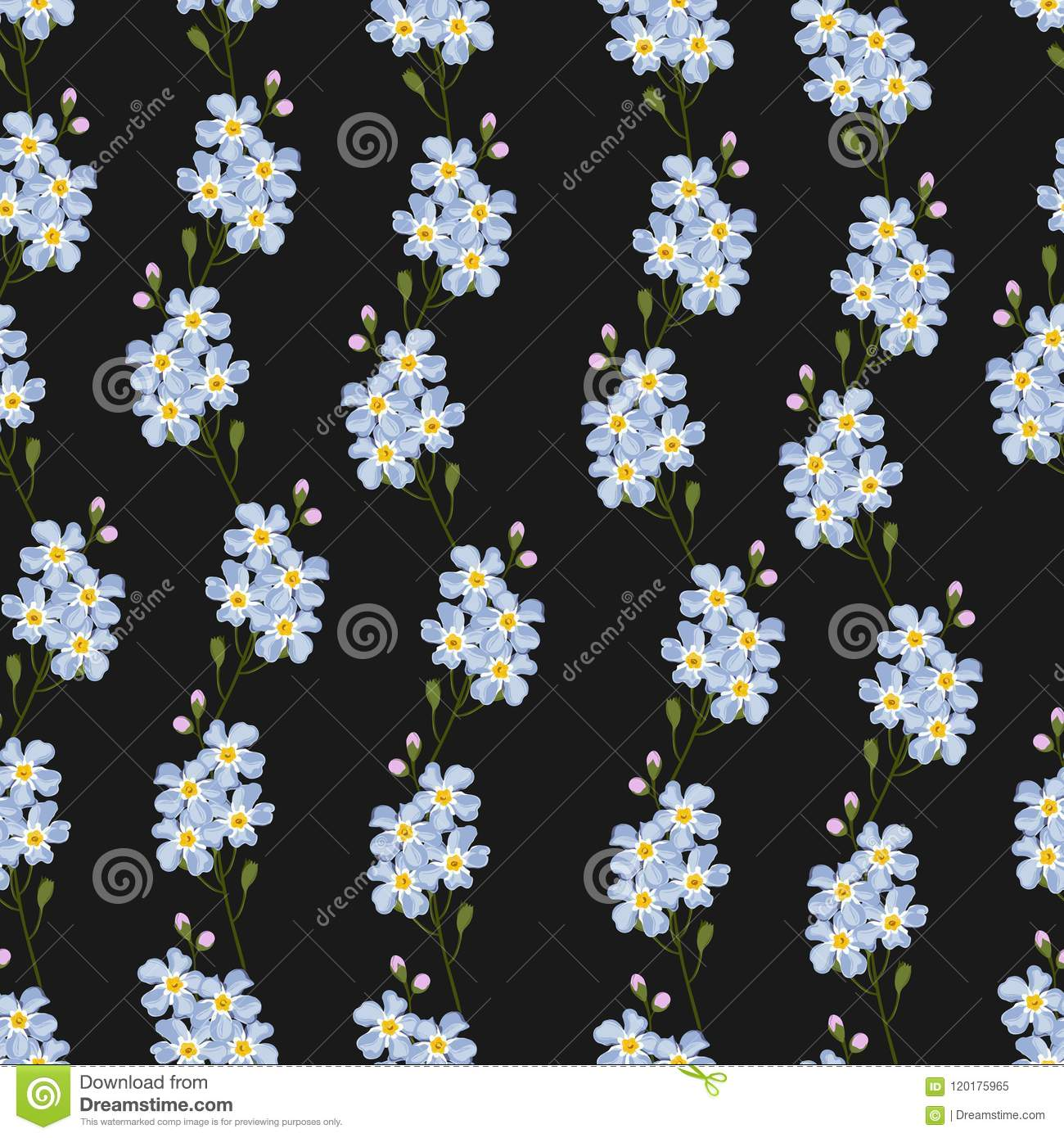 Forget Me Not Seamless Pattern Blue Spring Flowers With Yellow