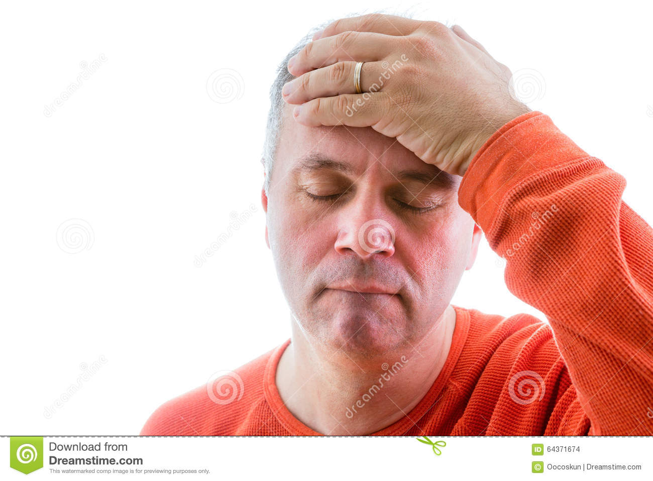 Forgetful Man Holding His Hand To His Forehead Stock Photo ...