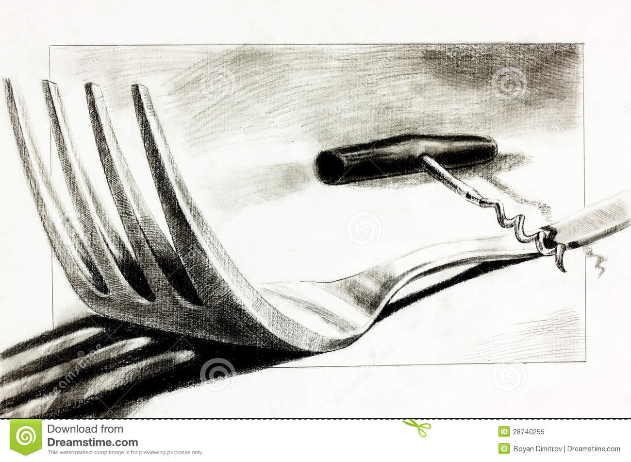 Original pencil or drawing charcoal and hand drawn painting or working sketch of a fork and corkscrew free composition