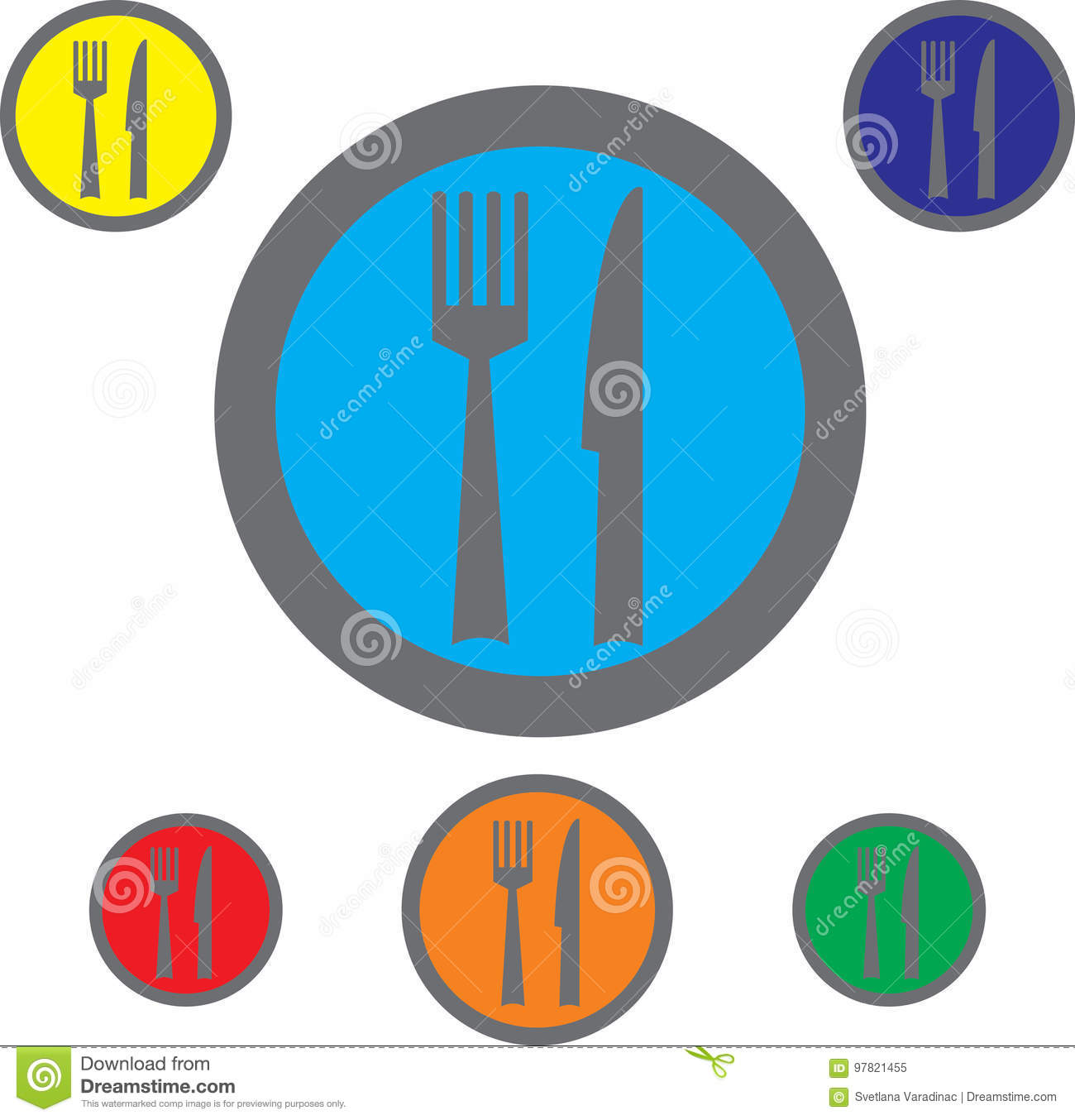 Fork Knife And Spoon Icons Cutlery Symbol Stock Vector