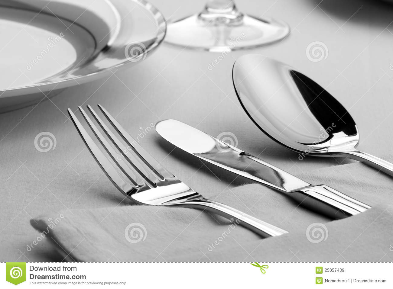 Fork Knife And Spoon On The Table Royalty Free Stock