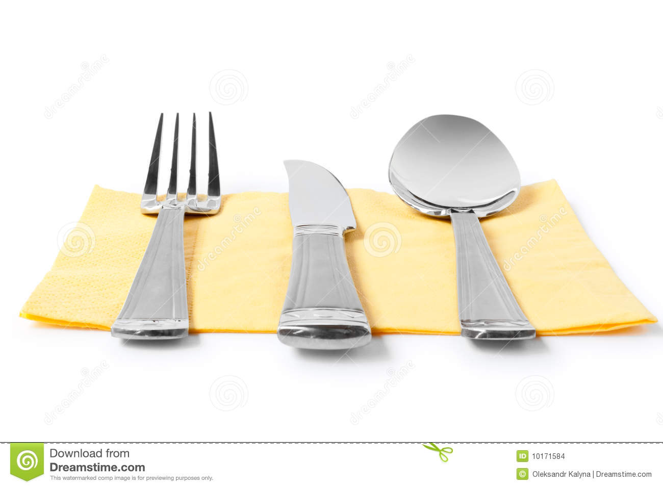 Fork knife and spoon on table napkin stock images image for Table utensils