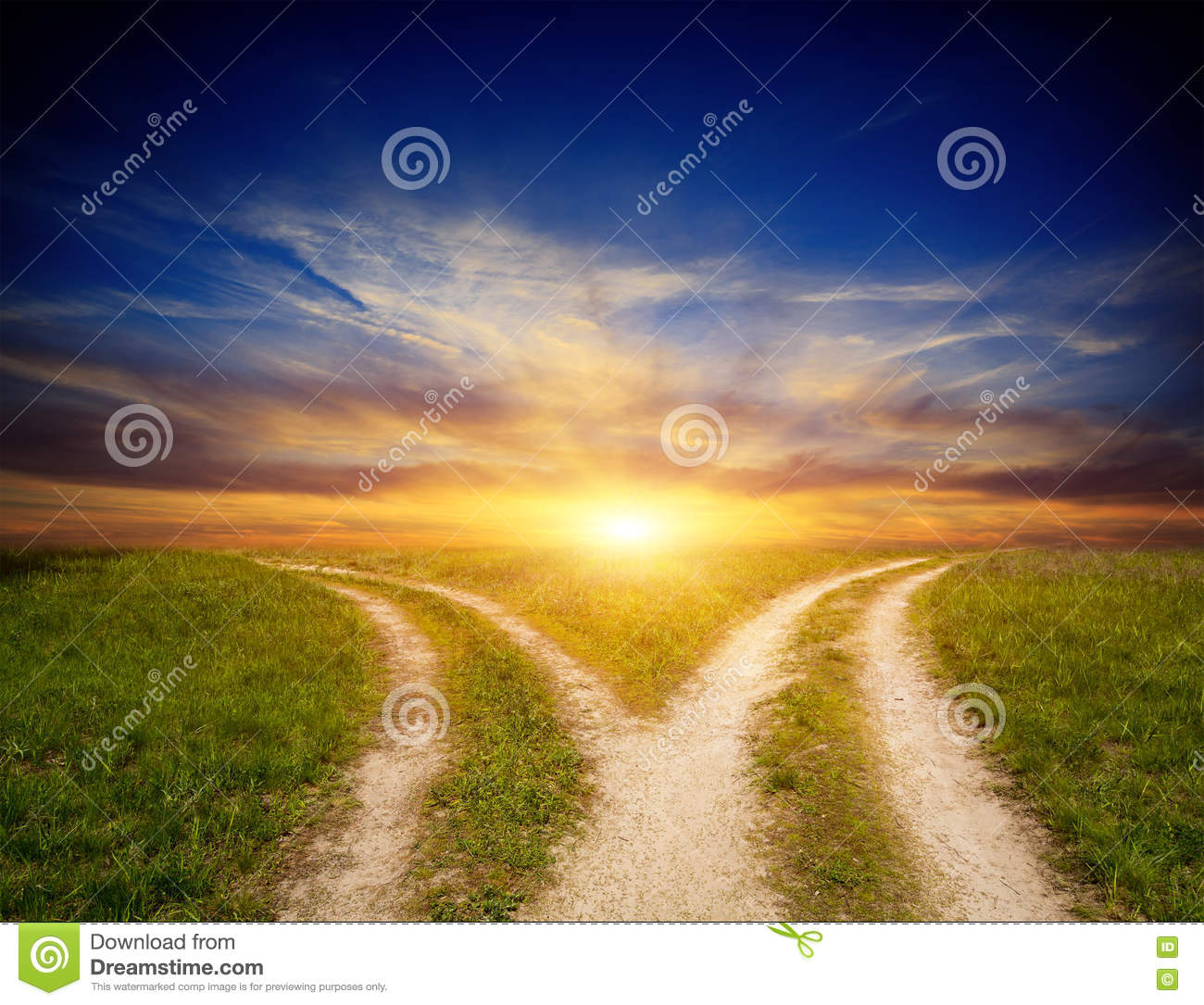 Fork Roads In Steppe On Sunset Sky Background Stock Photo