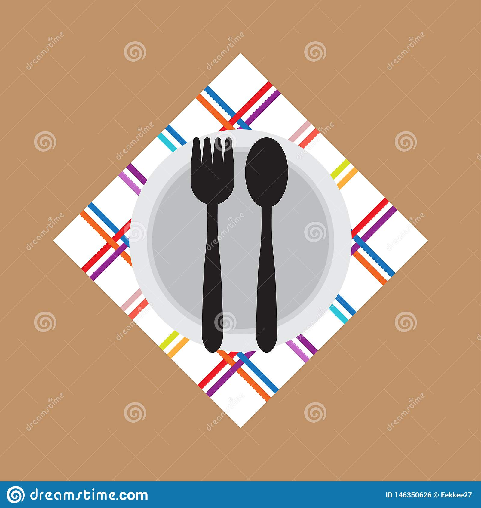 Fork Spoon bowl icon flat style. Vector. Illustration.