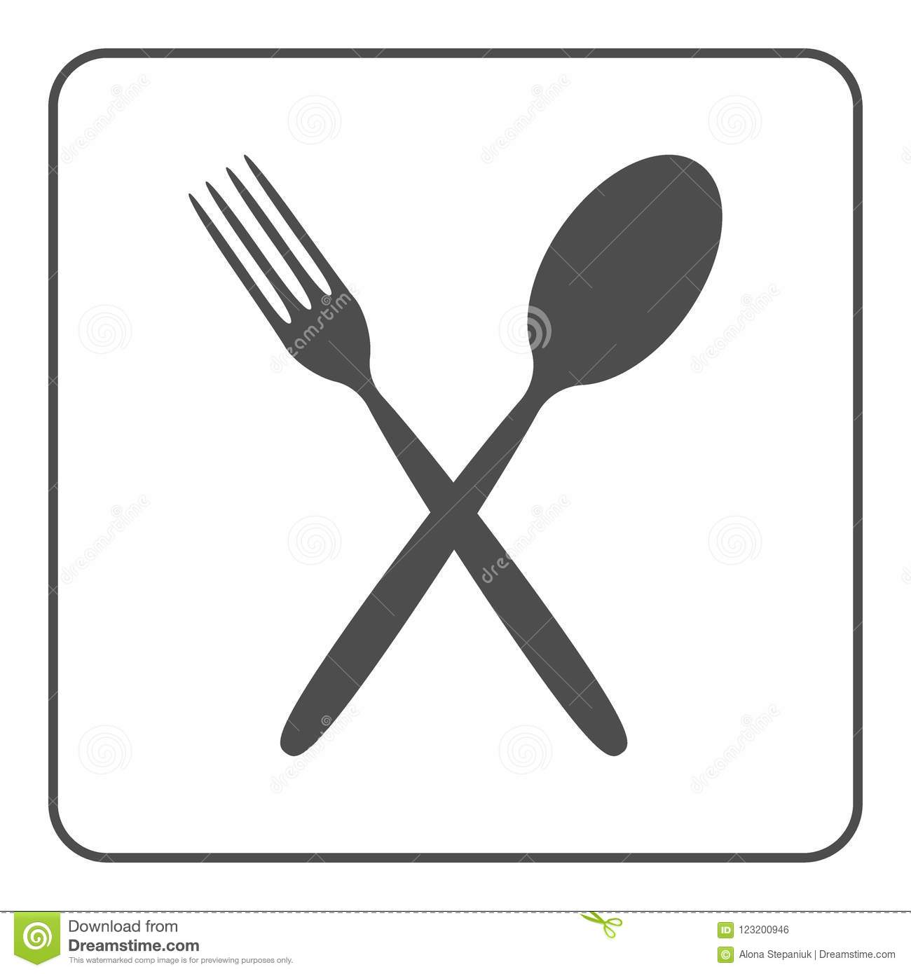 Crossed Spoon And Fork Icon Stock Vector Illustration Of Object