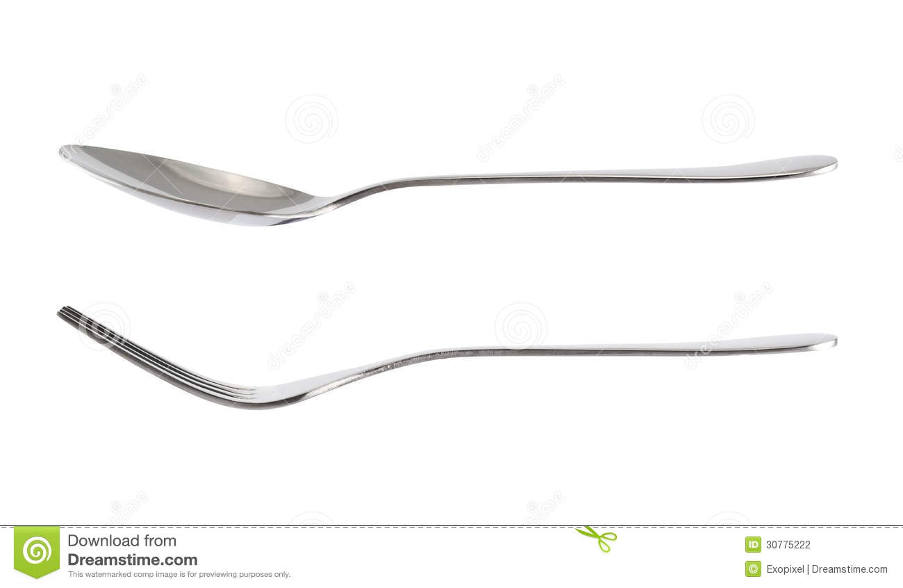 Fork And Spoon Kitchenware Isolated Over White Stock