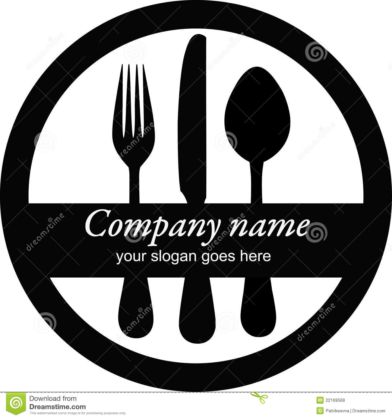 Black logo with fork, spoon and knife isolated on the white background ...