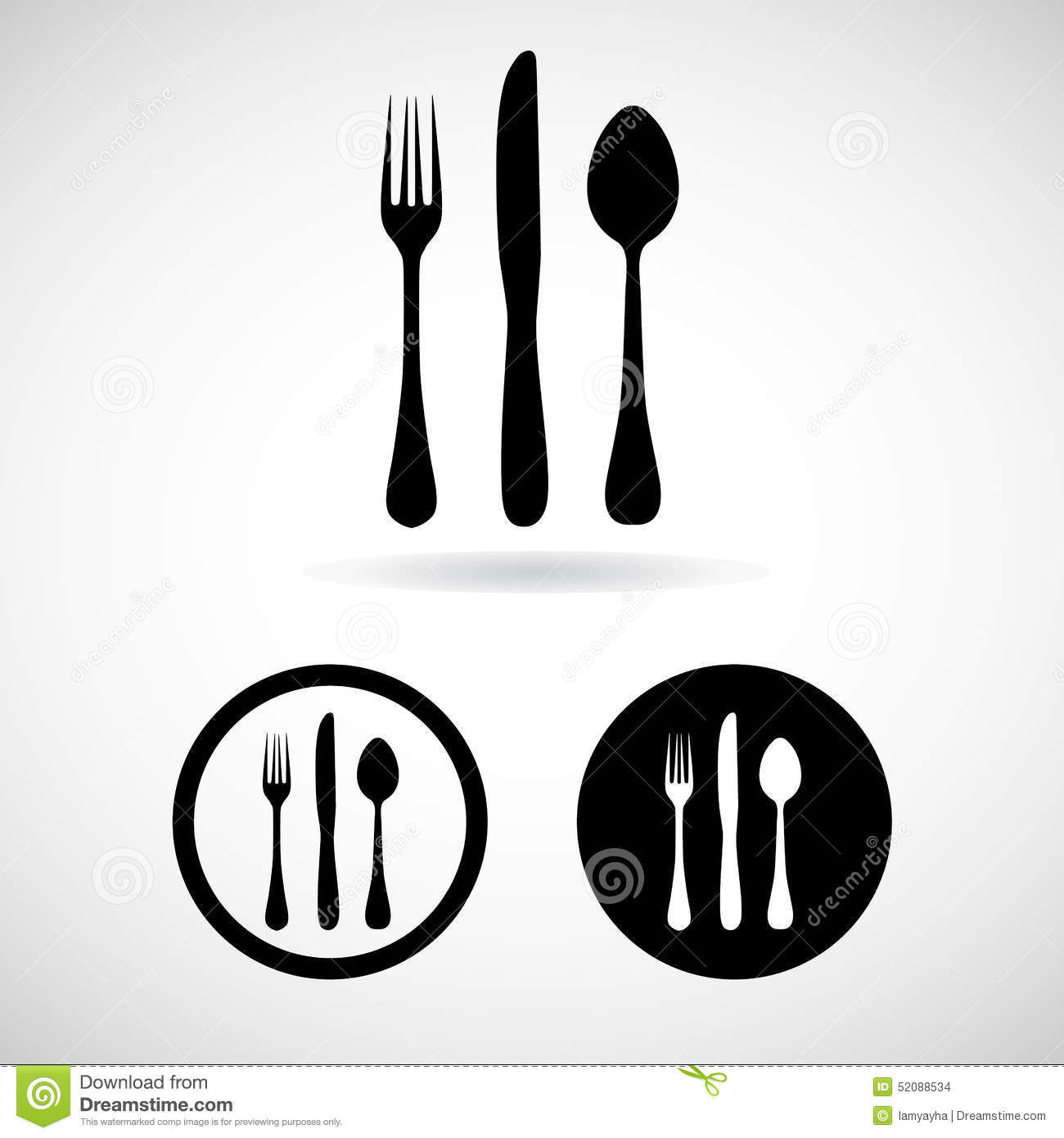fork spoon knife vector and icon eps10 stock vector