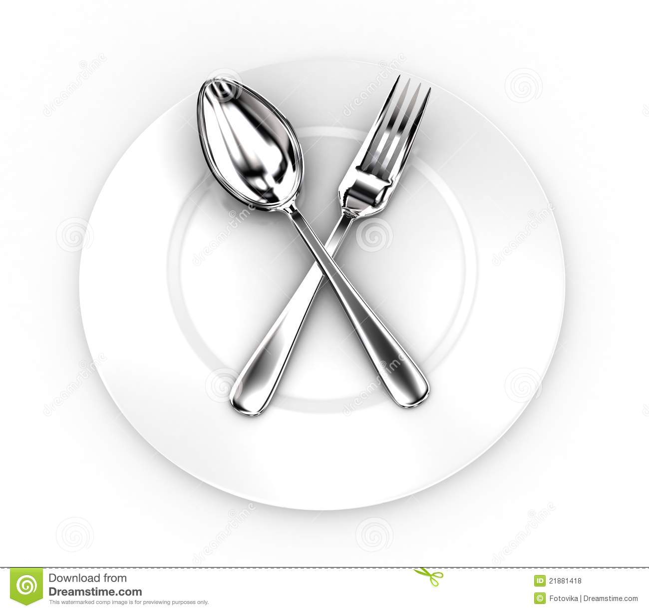 Fork And Spoon On A Plate Royalty Free Stock Photos  : fork spoon plate 21881418 from dreamstime.com size 1300 x 1225 jpeg 66kB