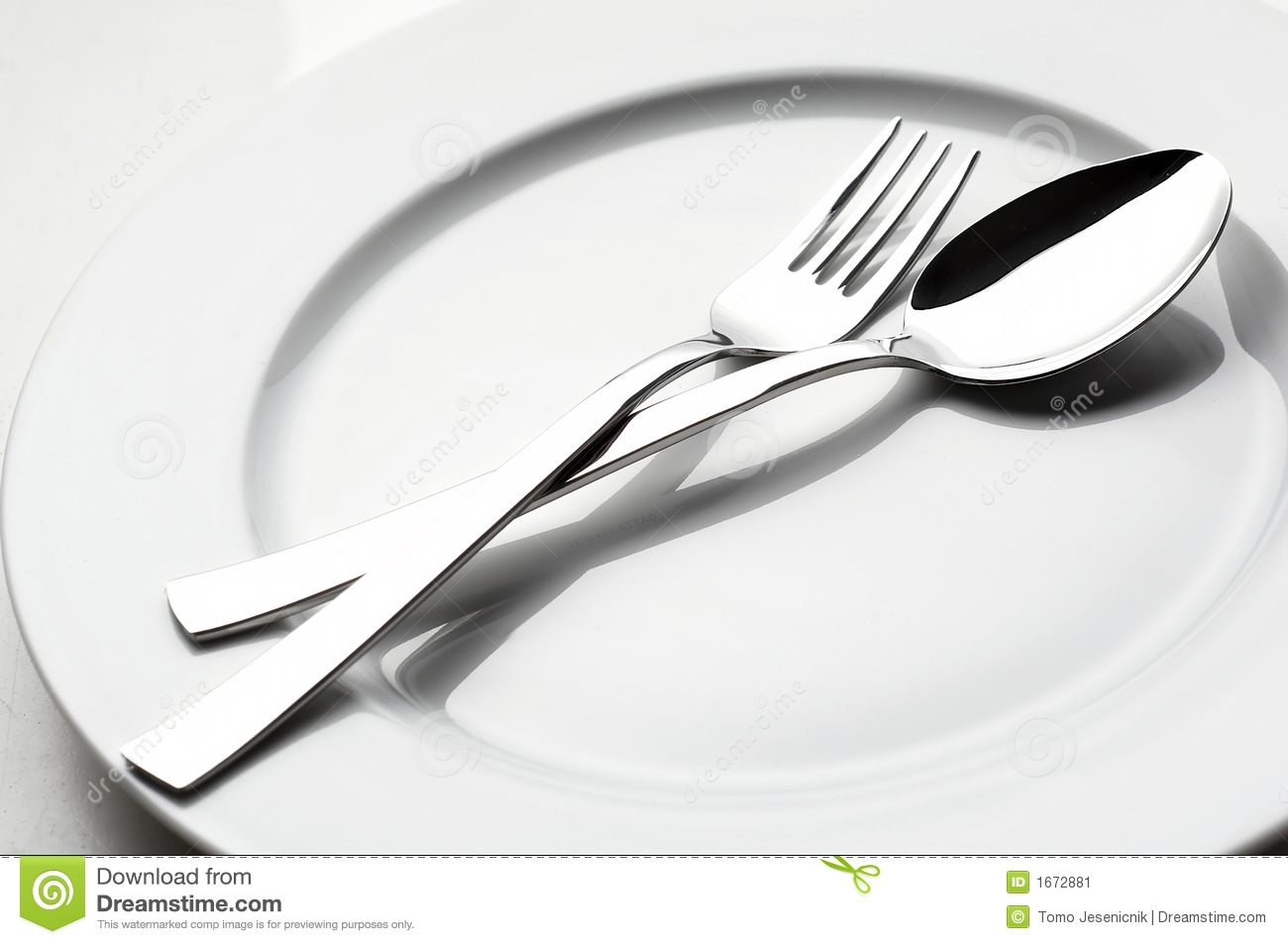 Fork And Spoon On White Plate Stock Image - Image: 1672881