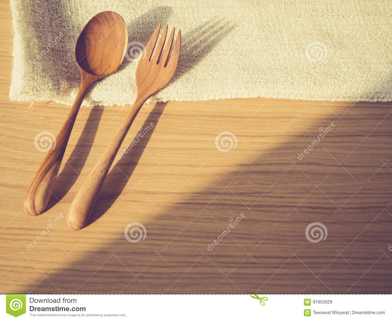 Fork And Spoon On Wooden Table Background Stock Image - Image of ...