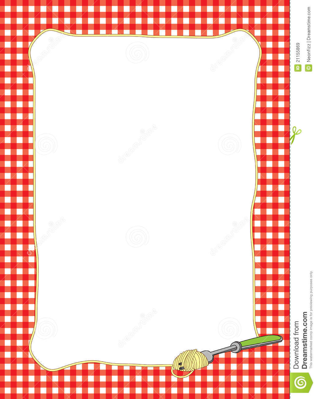 Bright border of a fork twirling a spaghetti noodle with a red gingham