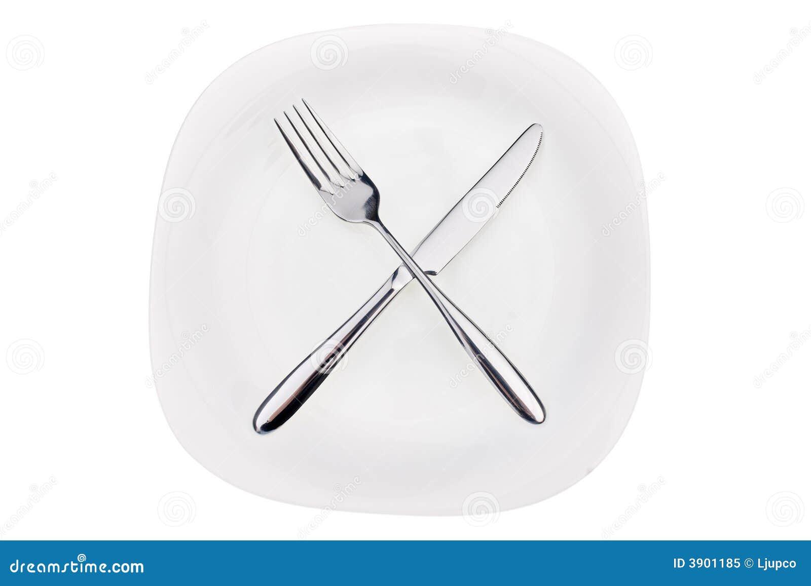Fork y cuchillo en un plato
