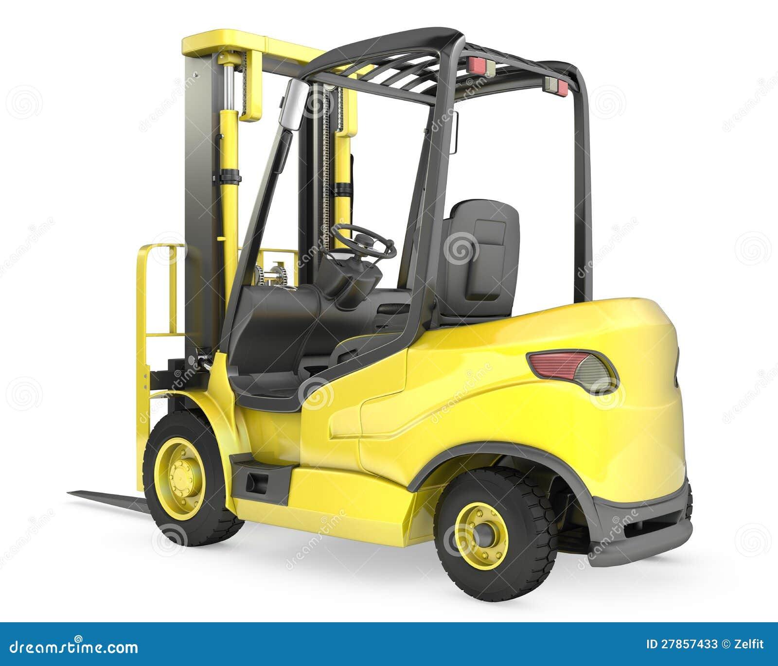 Forklift żółta ciężarówka, tylni widok