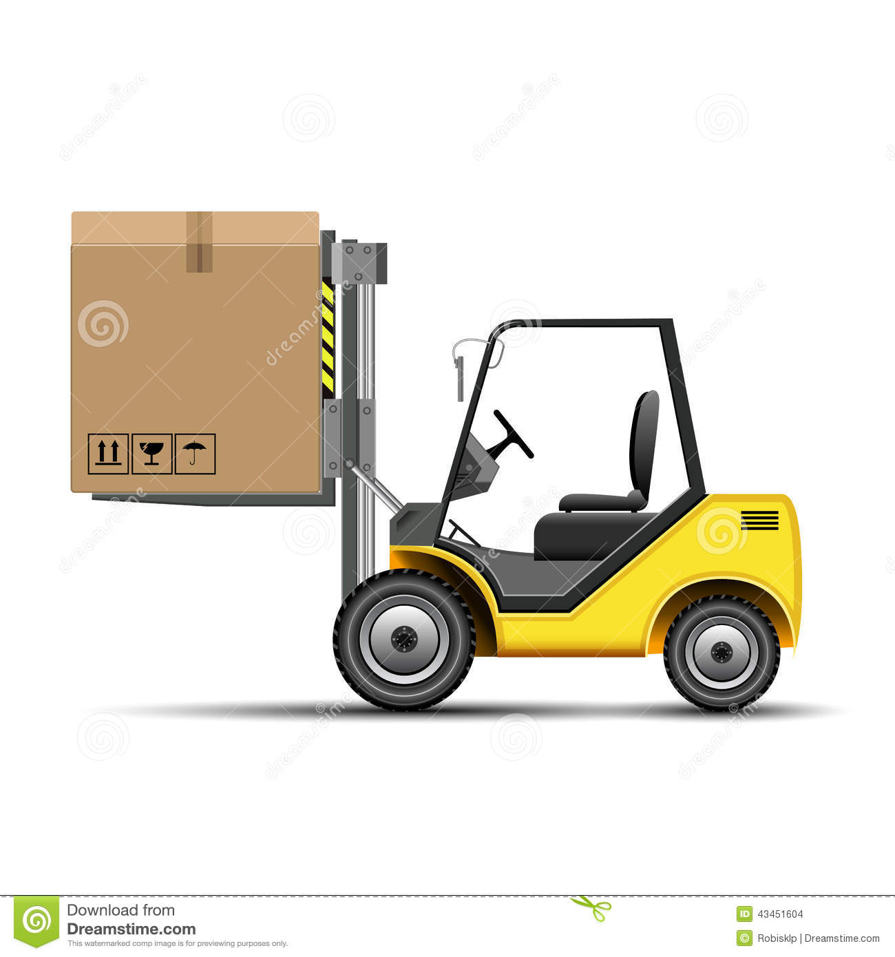 Compartment Of A Fork Lift : Forklift with box stock vector image of icon cargo