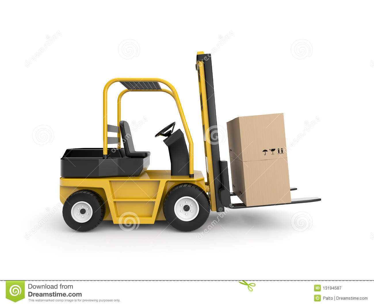 Compartment Of A Fork Lift : Forklift with cardboard box royalty free stock photography