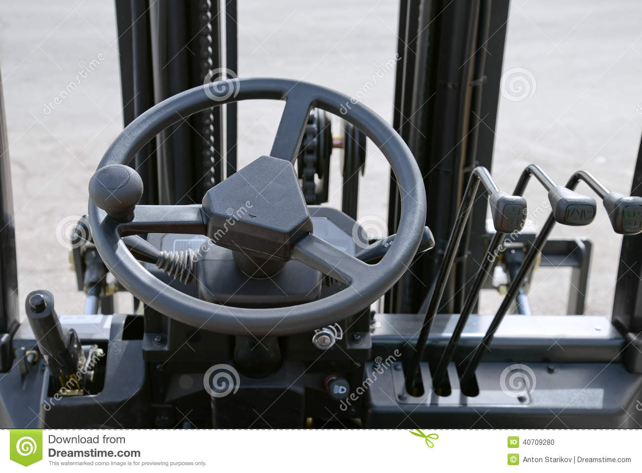 Fork Lift Controls : Forklift dashboard stock photo image of distribution
