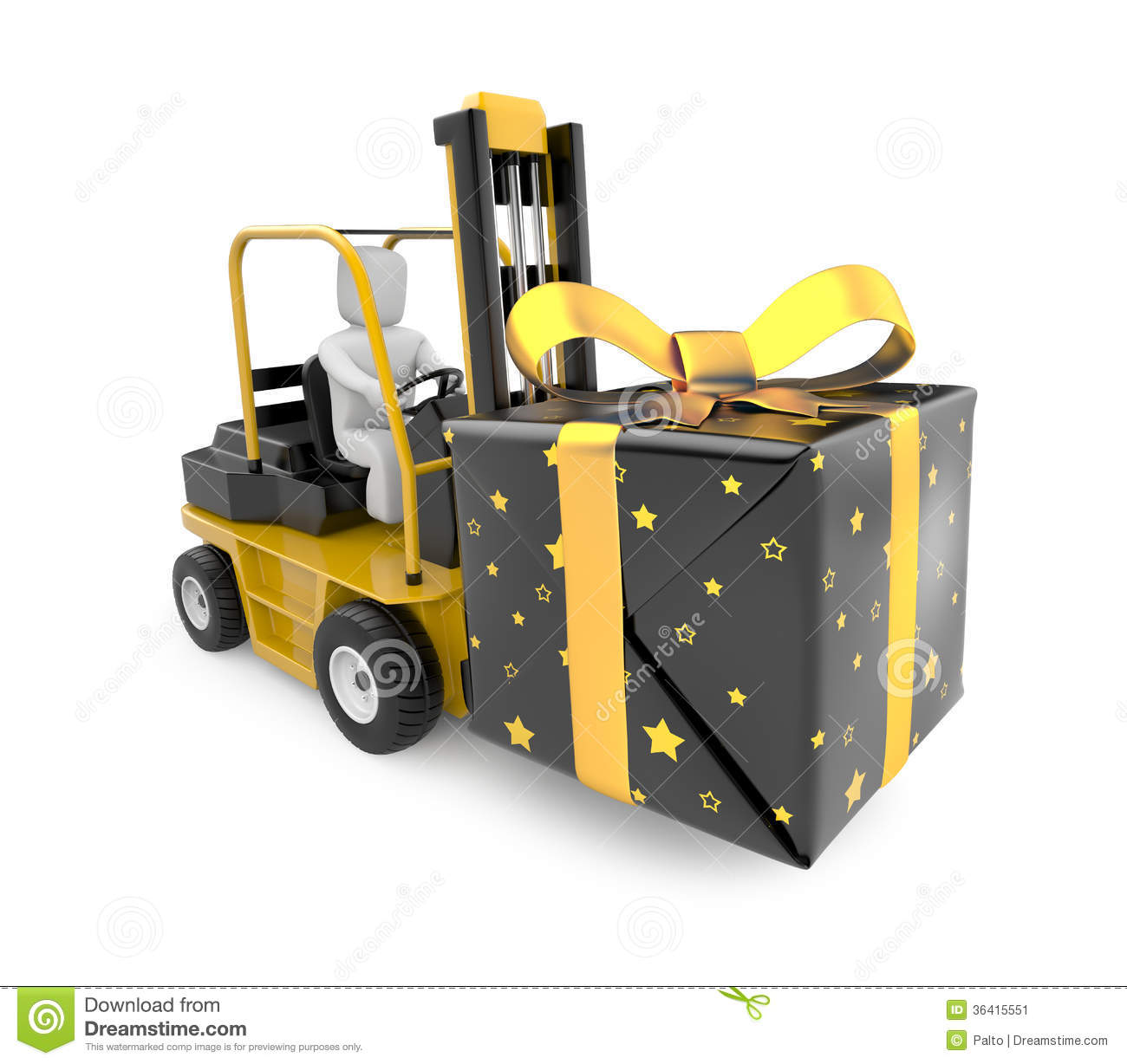Compartment Of A Fork Lift : Forklift with gift box royalty free stock photography