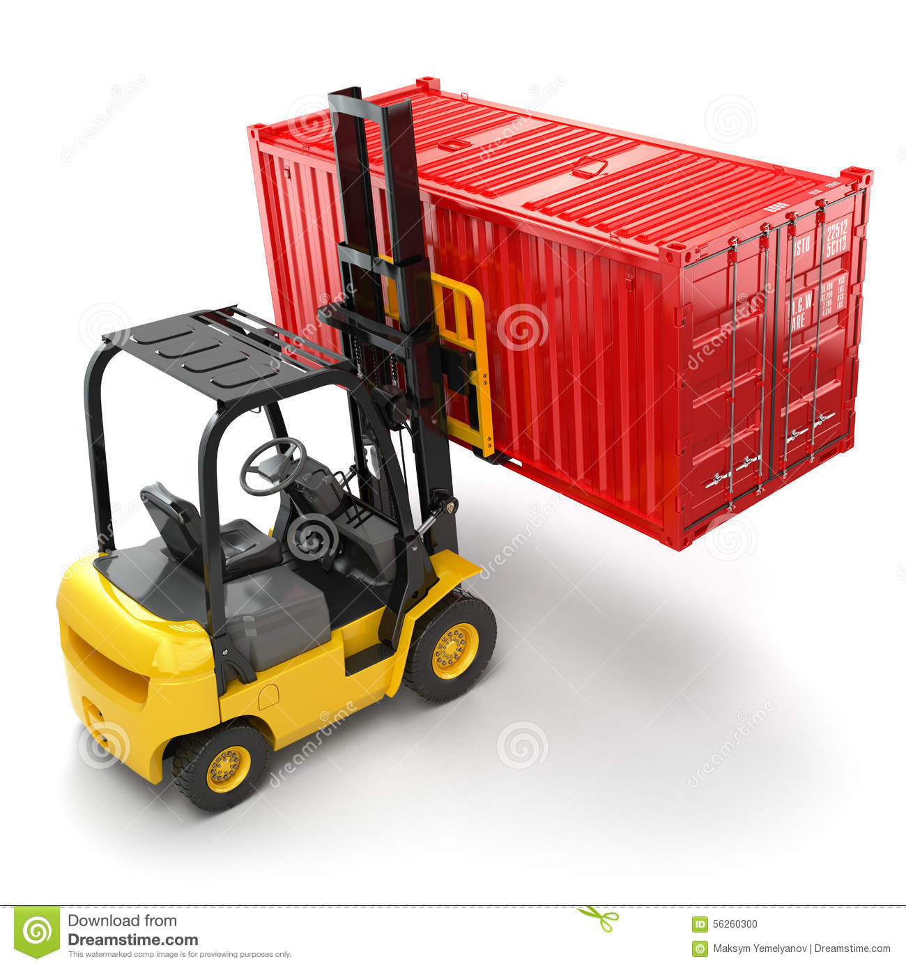 Compartment Of A Fork Lift : Handling stack of container shipping transportation