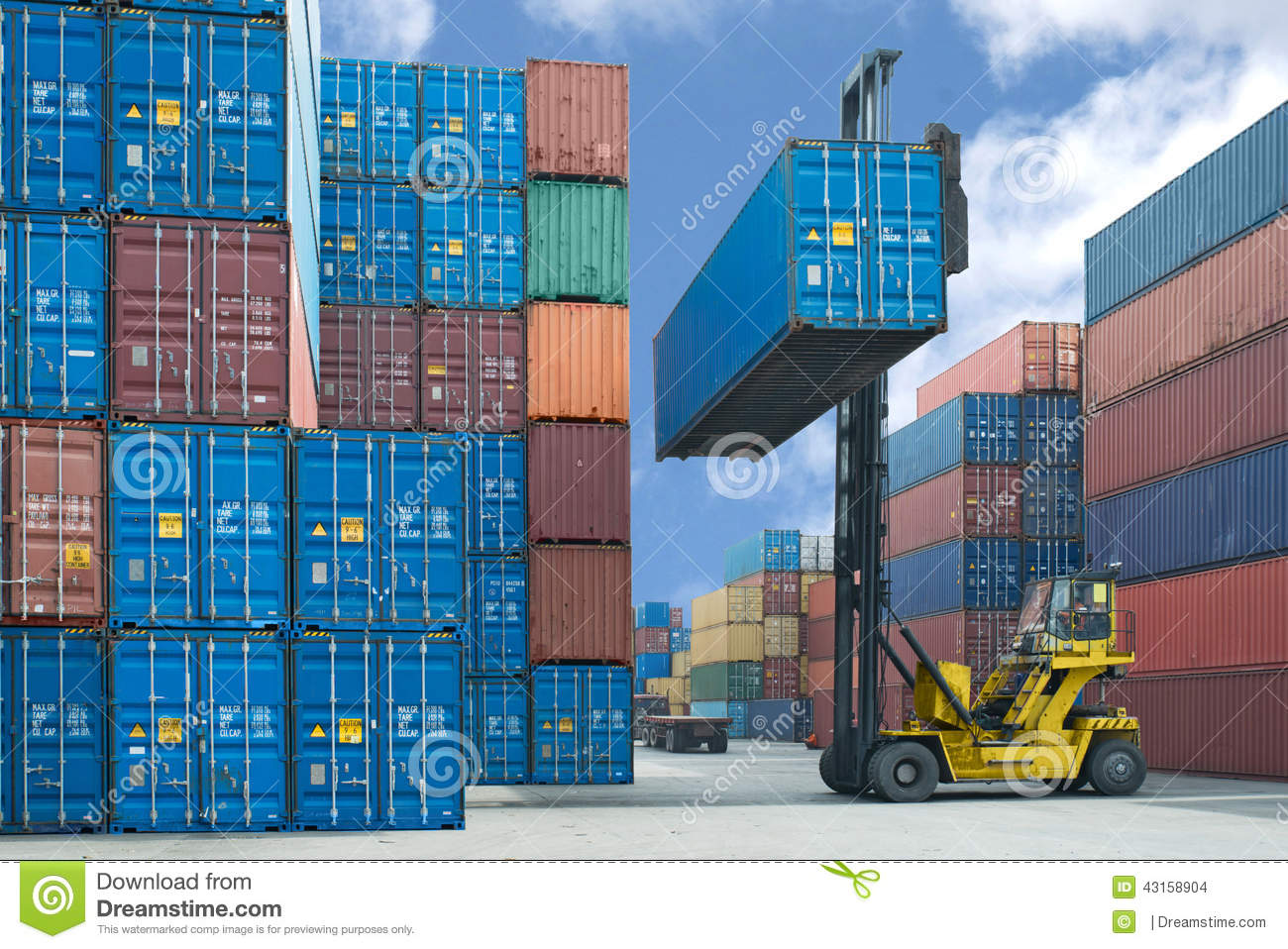 Forklift handling container box loading to truck