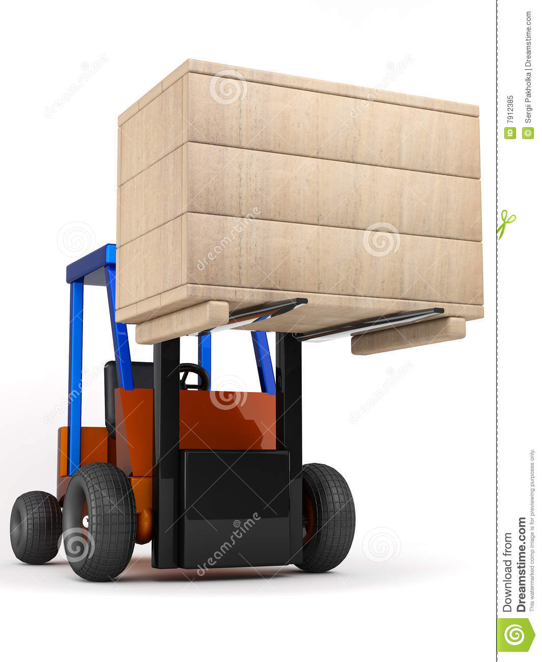 Compartment Of A Fork Lift : Forklift hoist the box royalty free stock photo image