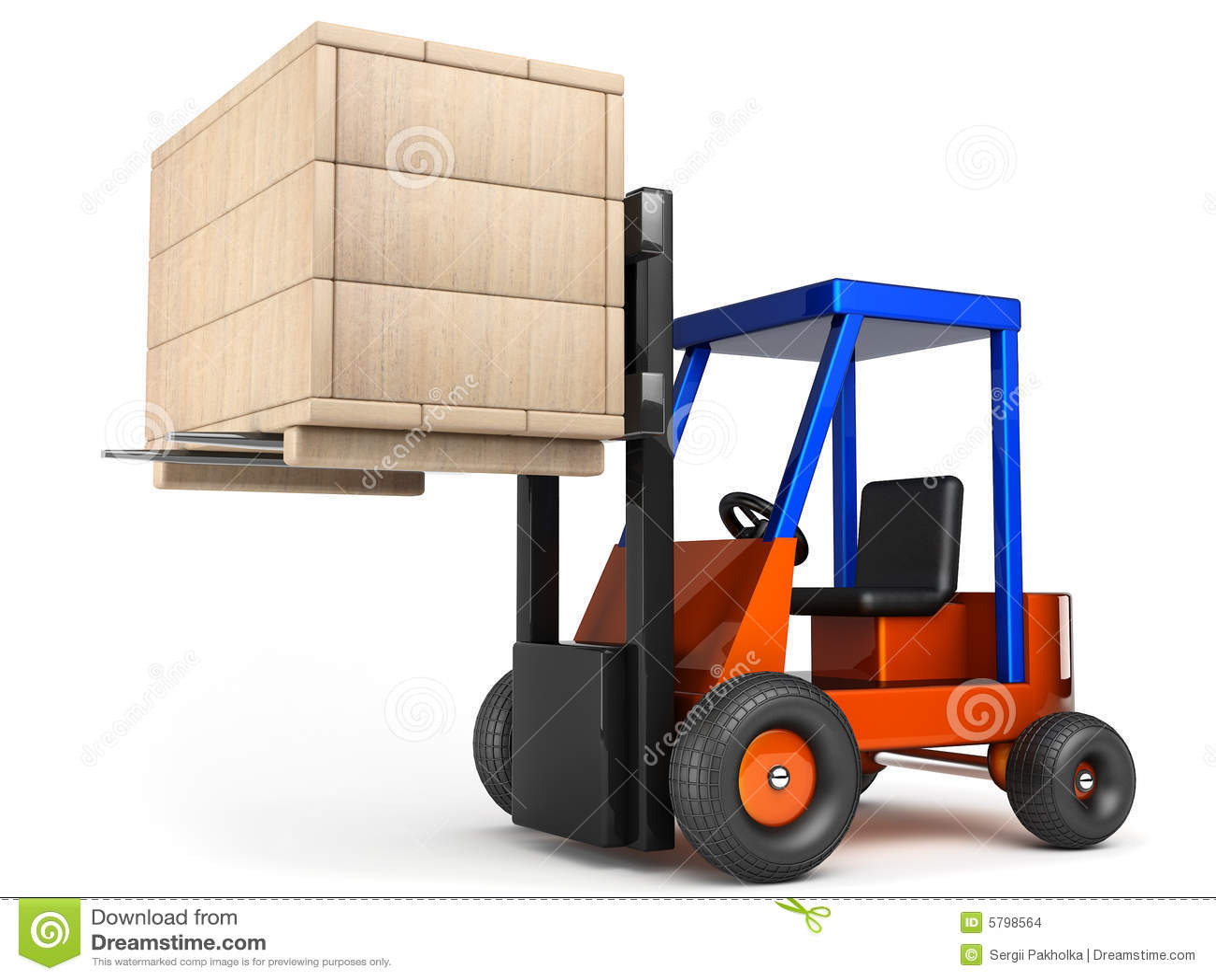 Compartment Of A Fork Lift : Forklift hoist wooden box stock illustration