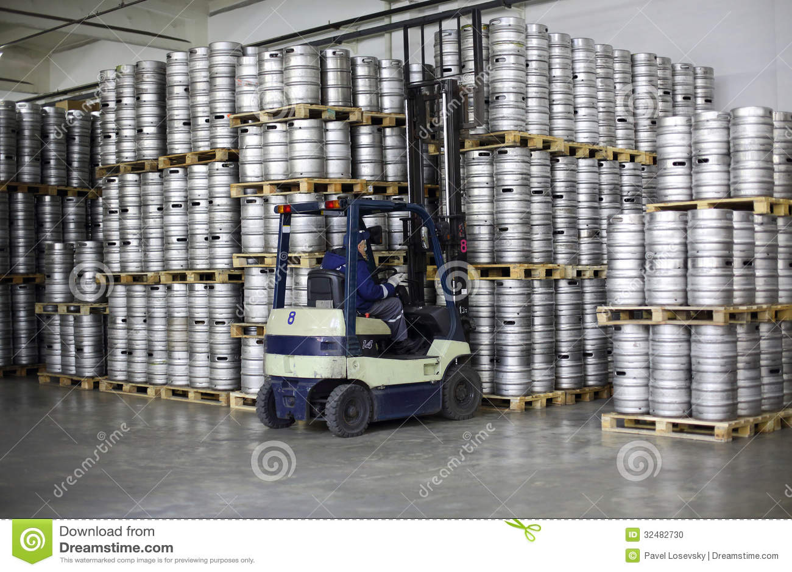 Forklift Loading Beer Kegs In Stock Brewery Ochakovo