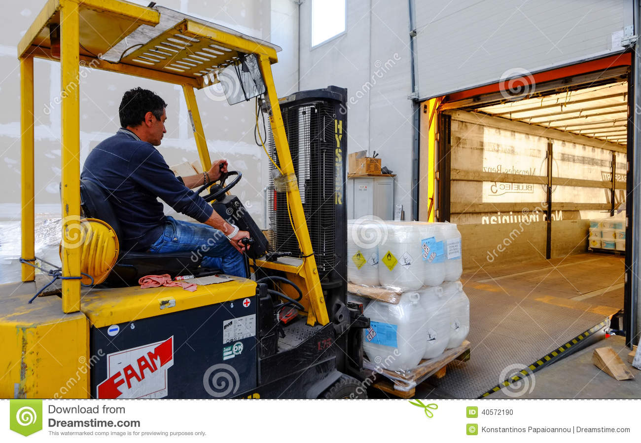 Forklift In Motion At Warehouse Editorial Image - Image: 40572190