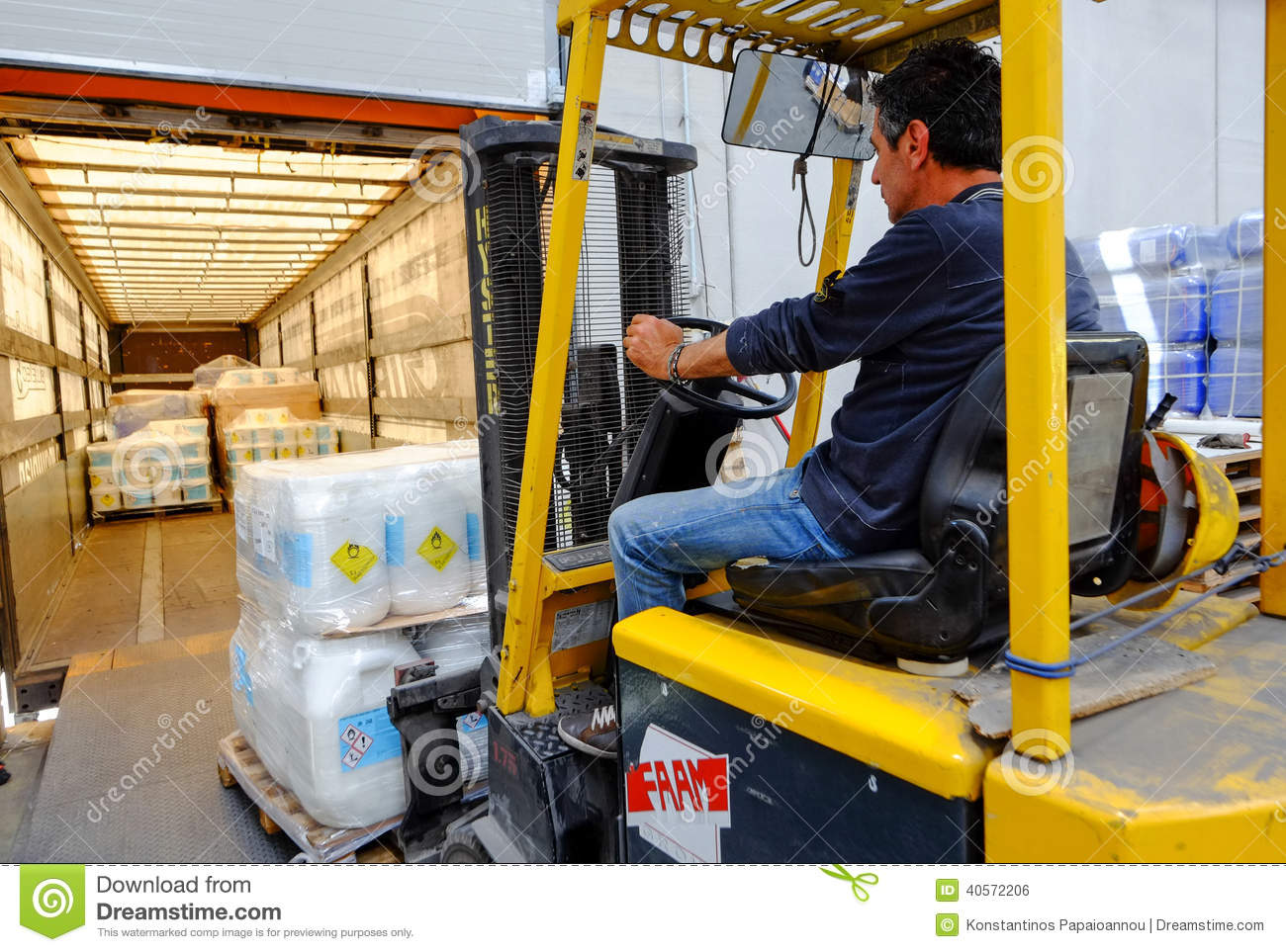 Forklift In Motion At Warehouse Editorial Photo - Image: 40572206