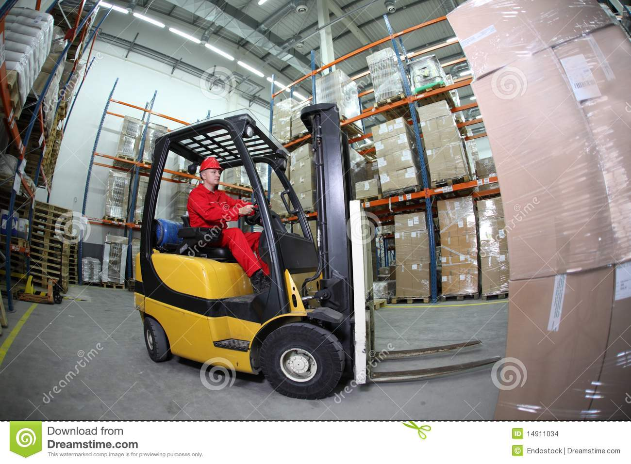 Fork Lift Operator : Forklift operator at work in warehouse stock photo image