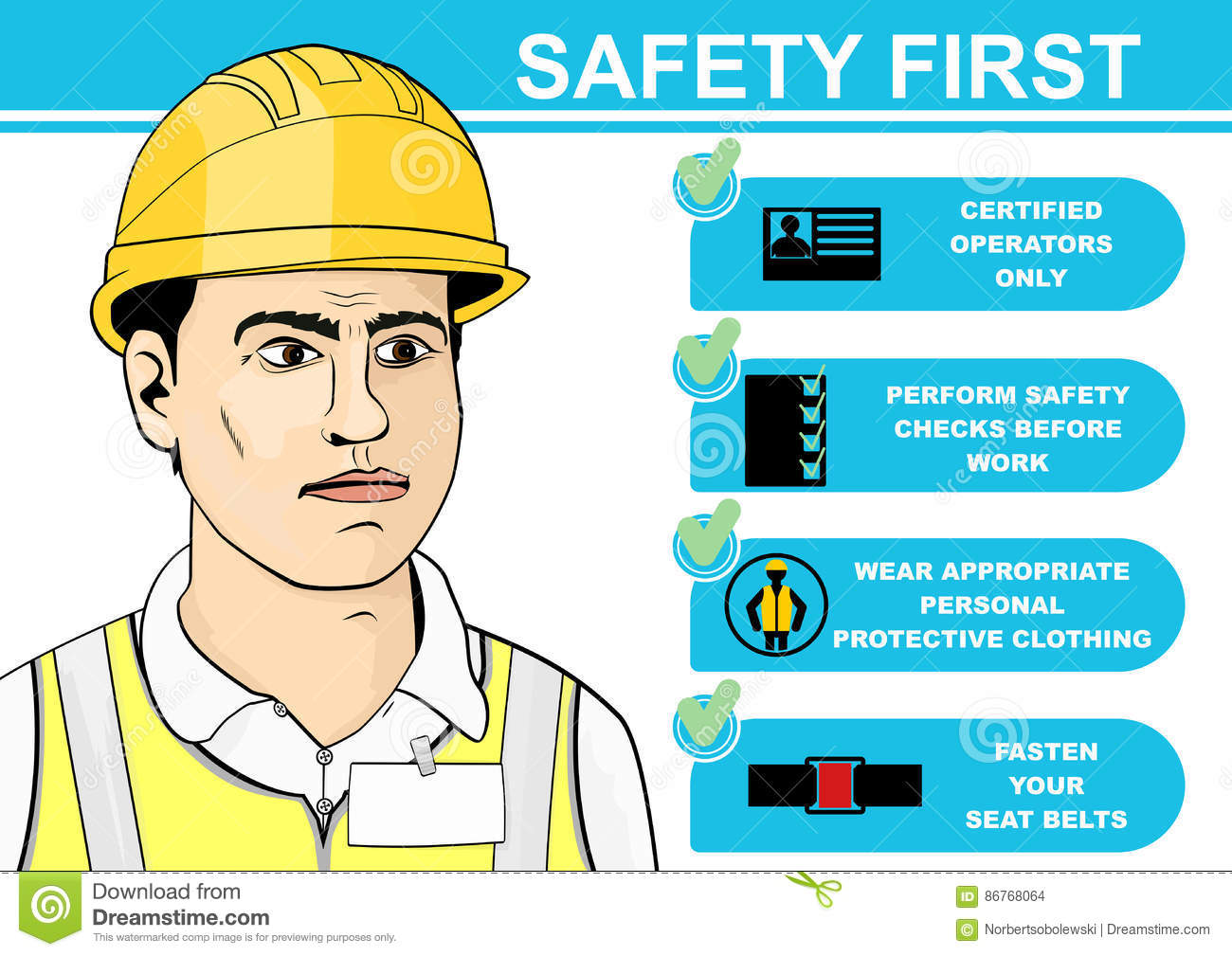 Forklift Safety Stock Vector Illustration Of Safety 86768064