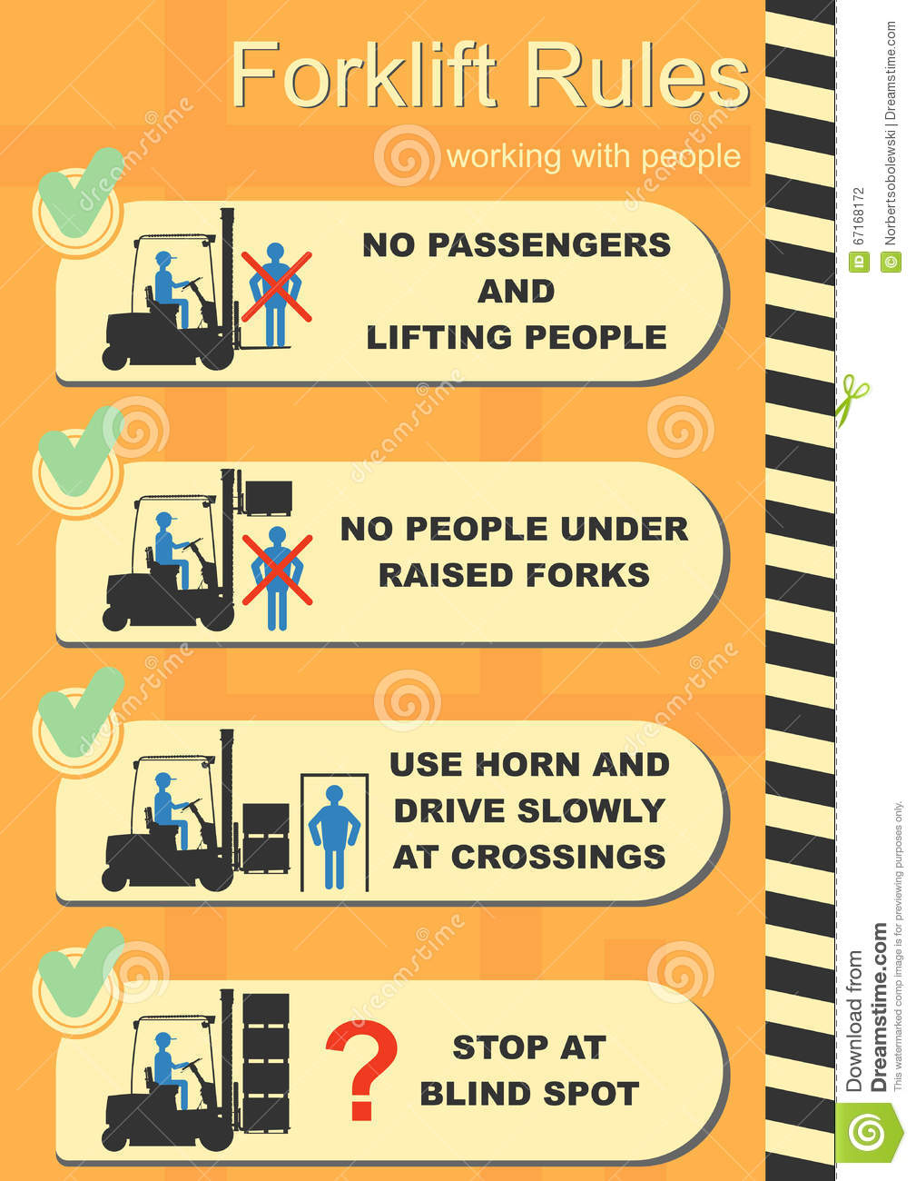 Forklift Safety Rules Stock Vector Image 67168172